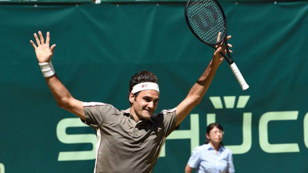 Roger Federer celebra un triunfo en el ATP Halle